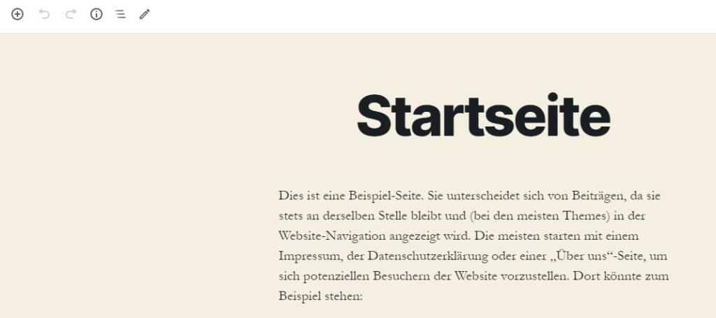 Onepager twenty twenty Startseite WordPress