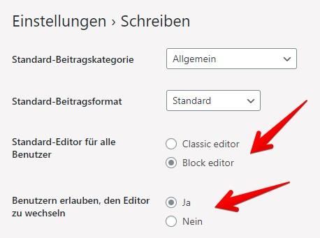 Classic Editor Block Editor