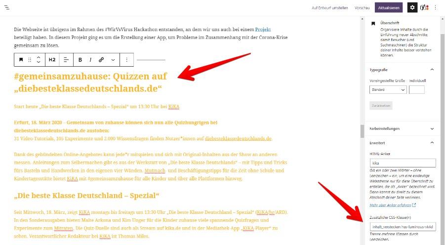 Blöcke ausblenden Block-Editor WordPress