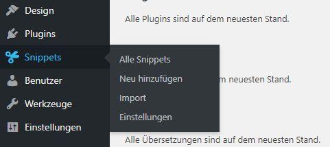 Menü Plugin Code Snippets