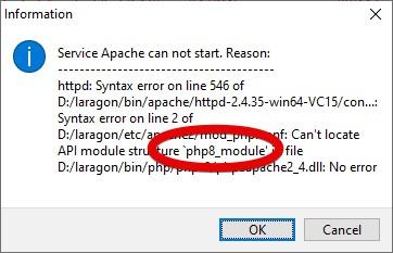 Apache Fehler Laragon