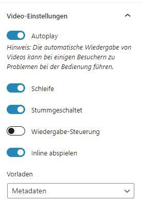 Video-Einstellungen beim Video Block