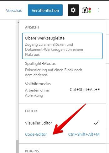 Code-Editor in WordPress Gutenberg
