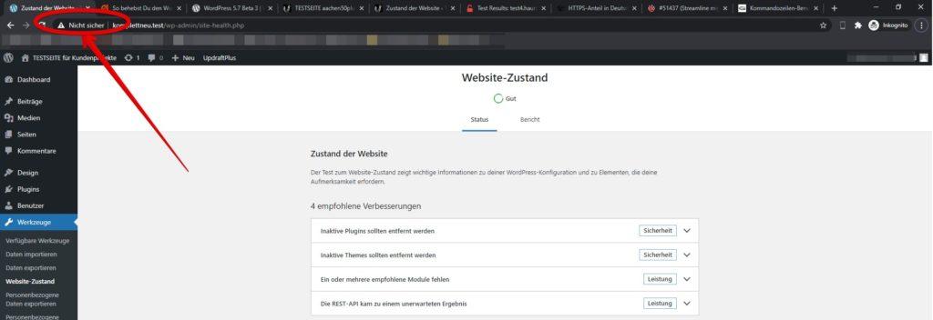 Umstellung von http auf https bei WordPress 5.7