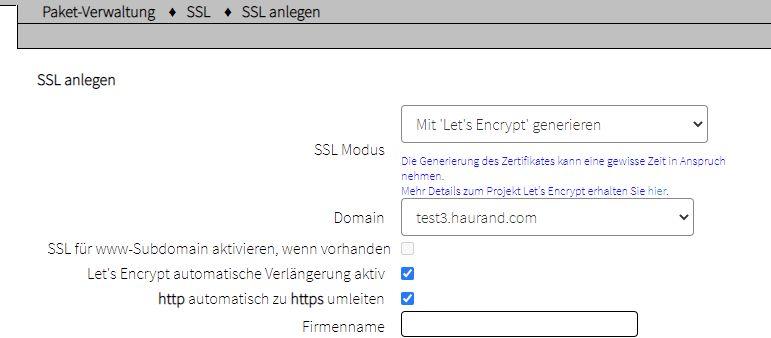 SSL Zertifikat anlegen