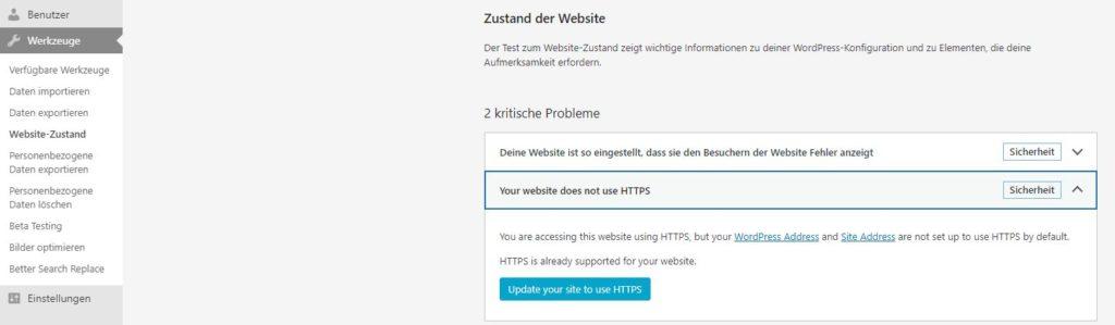 Vor der Umstellung auf HTTPS bei WordPress 5.7