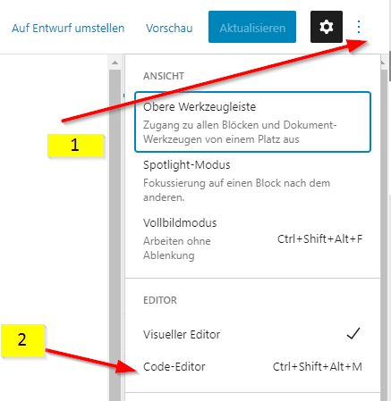 Code-Editor in WordPress beim Block-Editor (Gutenberg)