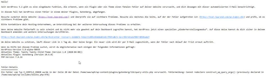 E-Mail zu einem kritischen Fehler