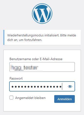Wiederherstellungsmodus WordPress
