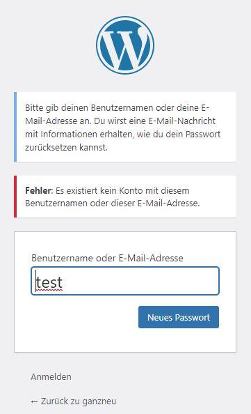 Benutzernamen und E-Mail-Adresse unbekannt