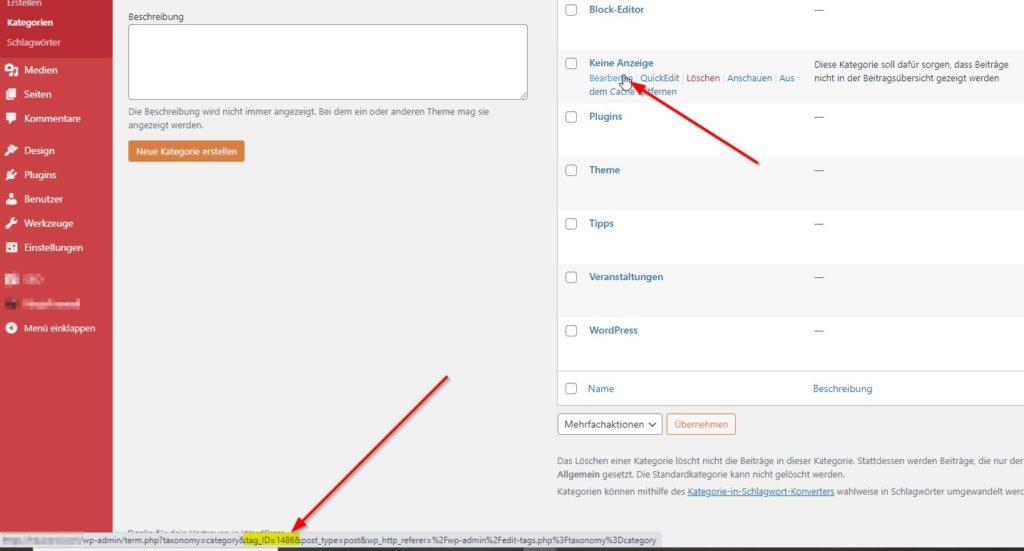 WordPress: Kategorie-ID ermitteln