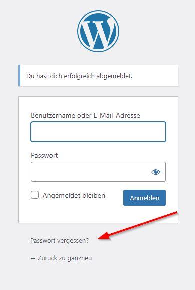 WordPress: Passwort vergessen
