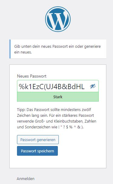WordPress: Neues Passwort erstellen