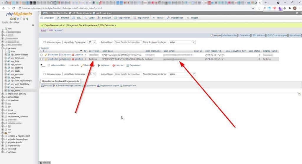 Benutzernamen und E-Mail-Adresse in der Datenbank (phpMyAdmin)