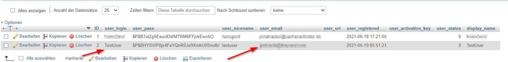 phpMyAdmin: Benutzername und E-Mail-Adresse ändern