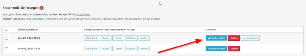 WordPress-Sicherung wiederherstellen