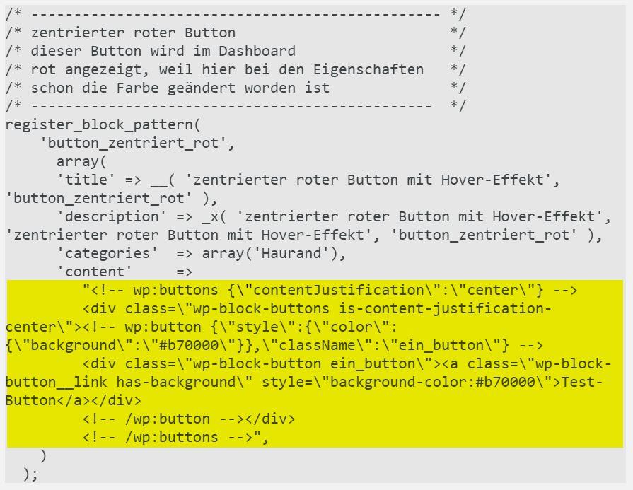 Code für Block Pattern