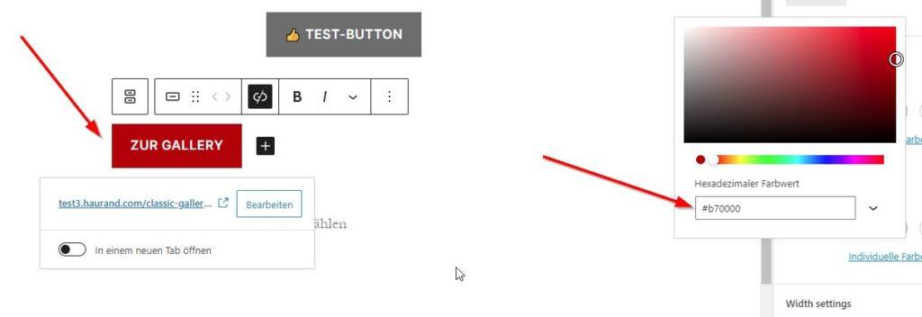 Button im Block-Editor von WordPress
