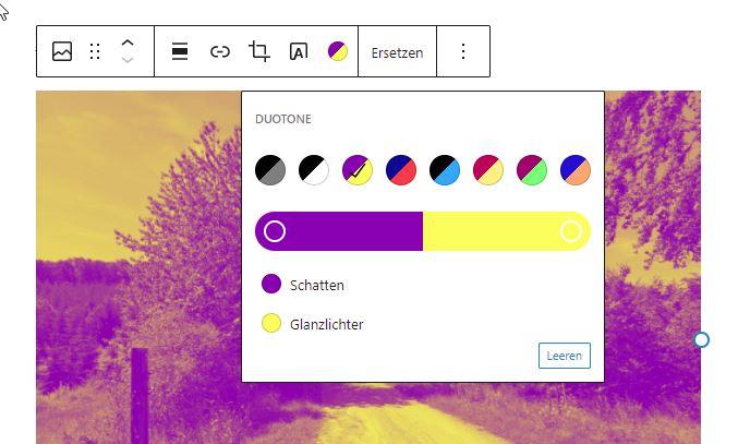 Weitere Optionen für die Bilddarstellung in WordPress 5.8: Duotone