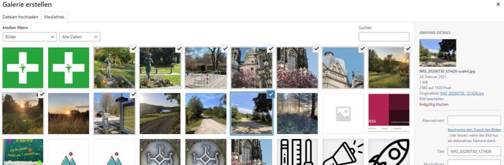 Auswahl der Medien beim Galerie-Block im Dashboard von WordPress