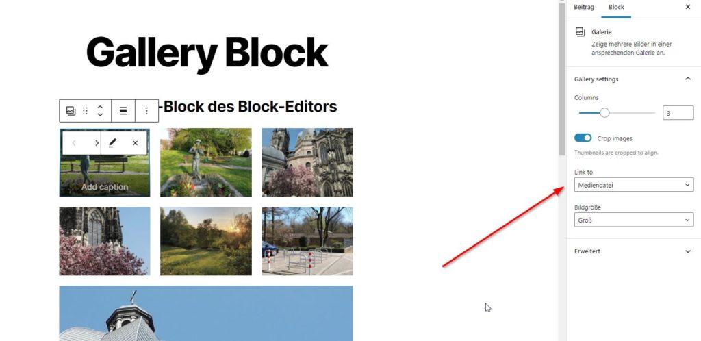 Galerie-Block mit Verlinkung zur Mediendatei im Dashboard von WordPress, damit Bilder in der Lightbox angezeigt werden können.