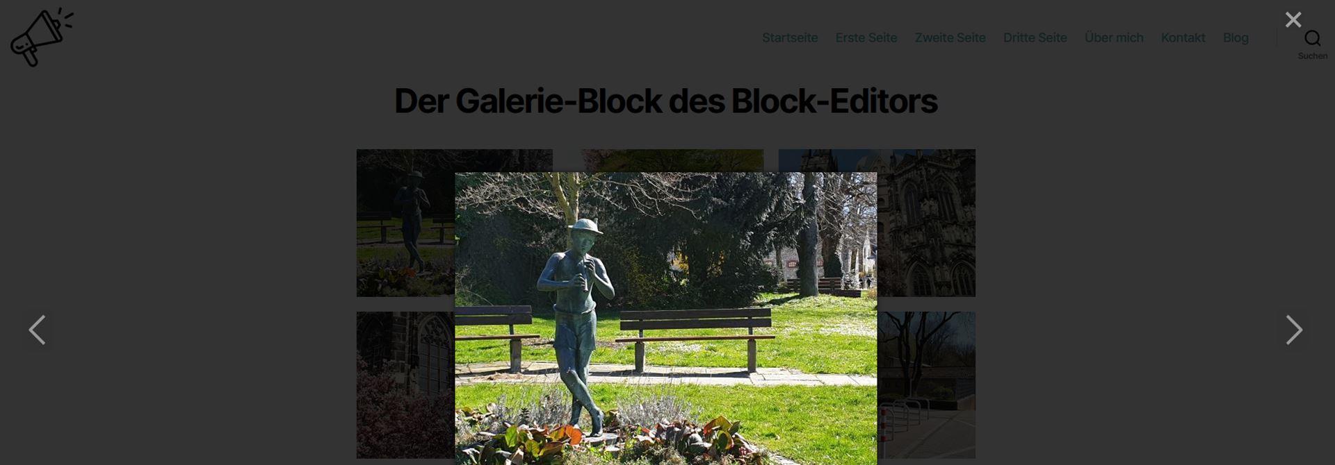 Bild in einer Lightbox bei Verwendung des Galerie-Blocks auf einer WordPress-Webseite