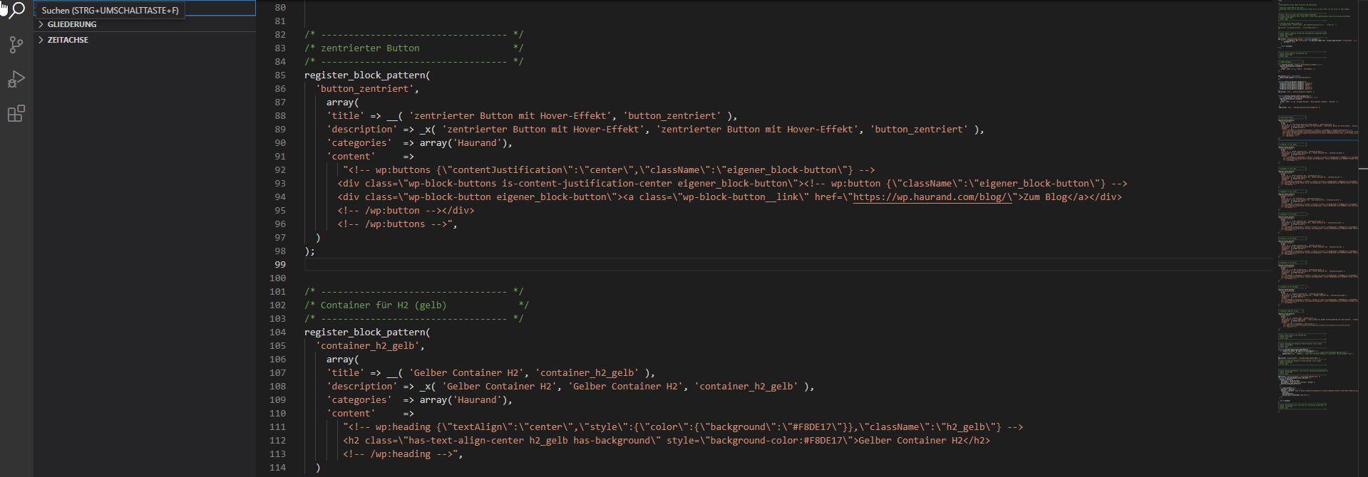 Code-Snippets im WordPress-Dashboard