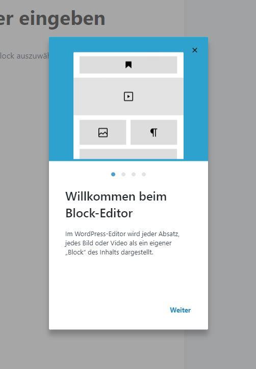 Welcome Modal (Willkommensleitfaden für den Blockeditor)