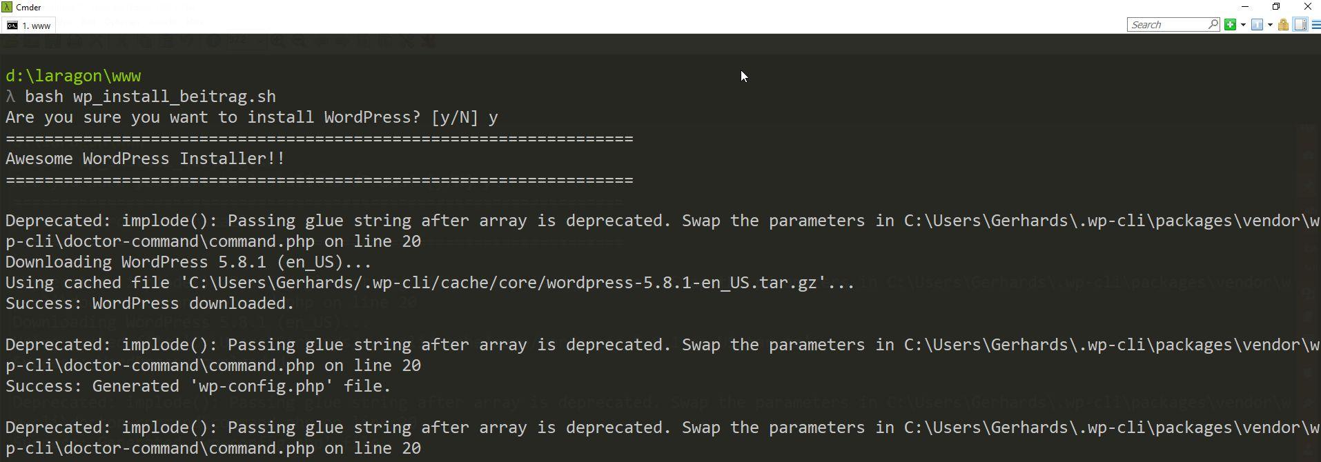 Ein Bash-Script unter Laragon zur Einrichtung einer WordPress-Instanz mit WP-CLI-Kommandos